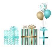Presentes de aniversário da cerceta e do ouro Imagens de Stock Royalty Free