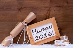 Presentes de Chrsitmas com texto 2016 feliz, neve Fotografia de Stock Royalty Free