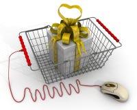 Presentes de compra pela loja em linha ilustração stock