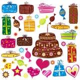 Presentes de feriados da cor, vetor Fotos de Stock Royalty Free