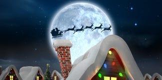 Presentes de la entrega de Papá Noel al pueblo stock de ilustración