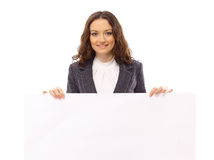 Presentes de la mujer con una tarjeta blanca en blanco Imagen de archivo