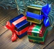 Presentes de la Navidad y del Año Nuevo Fotografía de archivo libre de regalías