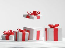 Presentes de Natal abertos na neve 3d-illustration Ilustração Stock