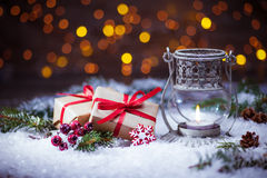 Presentes de Natal com lanterna Foto de Stock Royalty Free