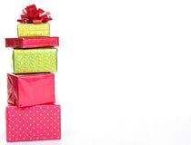Presentes de Natal empilhados Foto de Stock Royalty Free