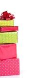 Presentes de Natal empilhados Imagem de Stock Royalty Free