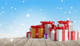 Presentes de Natal festivos com flocos de neve 3d-illustration como o fundo do Natal ilustração stock