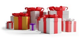 Presentes de Natal festivos com flocos de neve 3d-illustration como o fundo do Natal ilustração royalty free