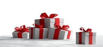 Presentes de Natal na neve 3d-illustration Ilustração Royalty Free