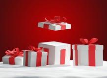 Presentes de Natal na neve 3d-illustration Ilustração do Vetor