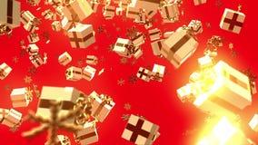 Presentes de queda abstratos do Natal no fulgor dourado ilustração stock
