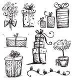 Presentes del Doodle Foto de archivo