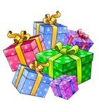 Presentes del regalo de día de fiesta del vector aislados Imágenes de archivo libres de regalías