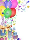 Presentes do Confetti dos balões para a festa de anos Foto de Stock