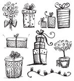 Presentes do Doodle Foto de Stock