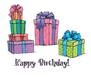 Presentes do feliz aniversario Fotos de Stock