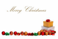 Presentes do Natal com espaço para o texto Fotos de Stock Royalty Free