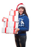 Presentes do Natal da terra arrendada da mulher Foto de Stock