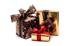 Presentes do Natal, no branco Fotos de Stock