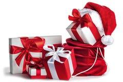 Presentes do Natal no branco Fotos de Stock