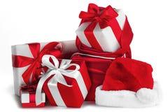 Presentes do Natal no branco Imagens de Stock