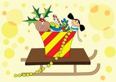 Presentes do Natal no sledge Imagem de Stock Royalty Free