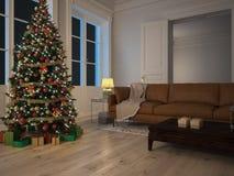 Presentes do vermelho e do verde pela árvore de Natal rendição 3d Fotos de Stock Royalty Free