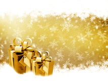 Presentes dourados do Natal Imagem de Stock Royalty Free