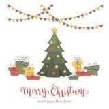 Presentes e árvore de Natal no fundo branco ilustração royalty free