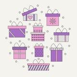 Presentes e caixas de presente no círculo Fotos de Stock