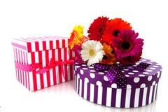 Presentes e flores Imagem de Stock