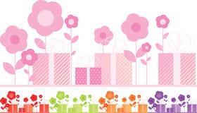Presentes e flores ajustados de cinco cores diferentes ilustração do vetor