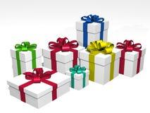 Presentes em 3d sobre um fundo branco Imagens de Stock Royalty Free