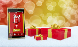 Presentes em linha do Natal Imagens de Stock Royalty Free