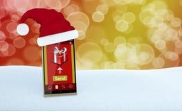 Presentes em linha do Natal Fotografia de Stock Royalty Free