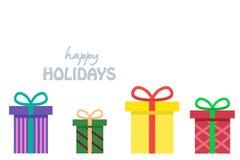 Presentes envolvidos coloridos para o aniversário, o Natal ou a outra celebração ilustração royalty free