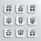 Presentes fijados iconos del día de fiesta del web de la caja de regalo Fotografía de archivo