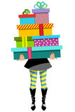 Presentes levando do presente da pilha da mulher da compra isolados Fotografia de Stock Royalty Free