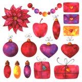 Presentes pintados à mão, letras, grânulos, luzes, decorações da quinquilharia e elementos florais isolados no fundo branco ilustração stock