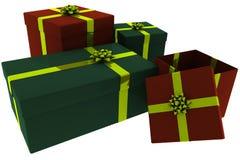 Presentes rendidos do vermelho e do verde com curvas do ouro ilustração stock