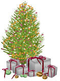 Presentes sob a árvore de Natal Ilustração Stock