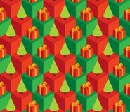 Presentes verdes do vermelho das árvores do teste padrão Foto de Stock