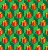Presentes verdes do vermelho dos cubos do teste padrão Foto de Stock