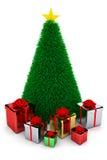 Presentes y árbol de navidad brillantes Imagen de archivo libre de regalías