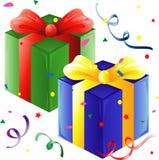Presentes y confeti stock de ilustración