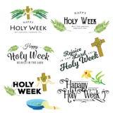 Presenti per la settimana santa di Cristianità pasqua, la crocifissione prestato e della palma o di passione domenica, di venerdì illustrazione vettoriale