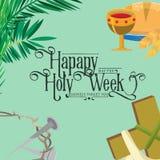 Presenti per la settimana santa di Cristianità pasqua, la crocifissione prestato e della palma o di passione domenica, di venerdì royalty illustrazione gratis