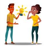 Presenti un'idea, uno studente Pulls una lampadina d'ardore ad un altro studente Vector Illustrazione isolata illustrazione vettoriale