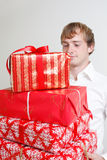 Presenting alot of gifts Stock Photo